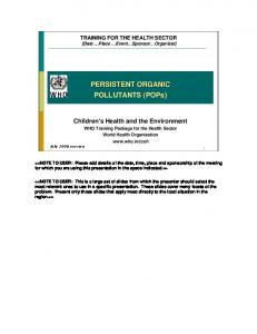 PERSISTENT ORGANIC POLLUTANTS (POPs) - World Health ...