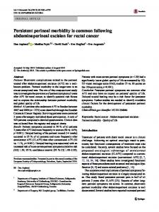 Persistent perineal morbidity is common following ... - Springer Link