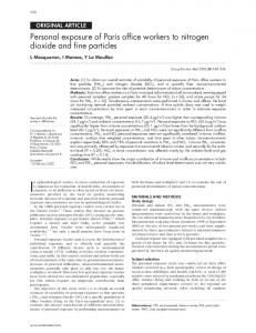 Personal exposure of Paris office workers to nitrogen dioxide ... - NCBI