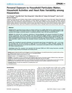 Personal Exposure to Household Particulate ... - Semantic Scholar