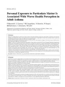 Personal Exposure to Particulate Matter Is Associated With Worse ...