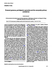 Personal genomes, participatory genomics and the anonymity-privacy ...