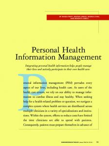 Personal Health Information Management - CiteSeerX