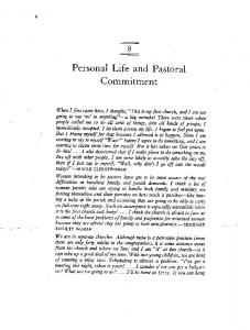 Personal Life and Pastoral Commitment