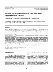 Personal, Professional and Financial Satisfaction among ... - SciELO