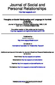 Personal Relationships Journal of Social and