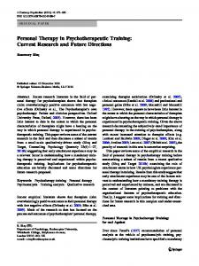 Personal Therapy in Psychotherapeutic Training - Springer Link