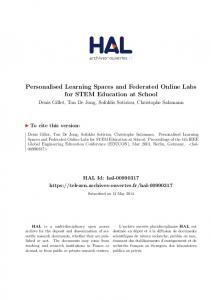 Personalised Learning Spaces and Federated Online ... - TeLearn - Hal