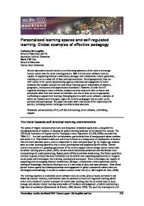 Personalised learning spaces and self-regulated learning - CiteSeerX