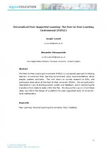 Personalised Peer-Supported Learning: The Peer-to-Peer ... - Eric