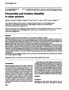 Personality and incident disability in older persons - Semantic Scholar
