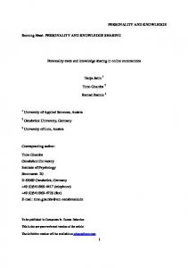 PERSONALITY AND KNOWLEDGE SHARING ... - Semantic Scholar