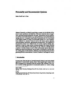 Personality and Recommender Systems - Department of ...