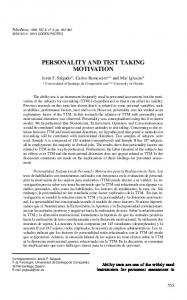 personality and test taking motivation - Psicothema