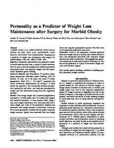 Personality as a Predictor of Weight Loss ... - Wiley Online Library