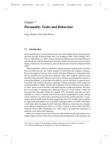 Personality Traits and Behaviour - BIO