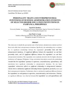 personality traits and entrepreneurial intentions of business ...