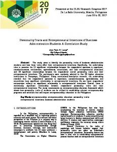 Personality Traits and Entrepreneurial Intentions of Business ... - DLSU
