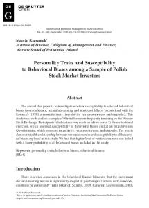 Personality Traits and Susceptibility to Behavioral ...