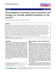 Personalization of prostate cancer prevention and therapy: are ...