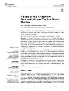 Personalization of Tinnitus Sound Therapy