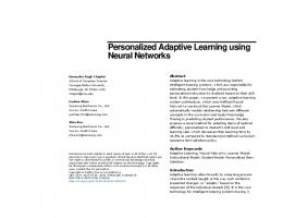 Personalized Adaptive Learning using Neural Networks