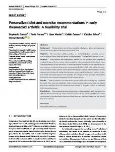 Personalized diet and exercise ... - Wiley Online Library