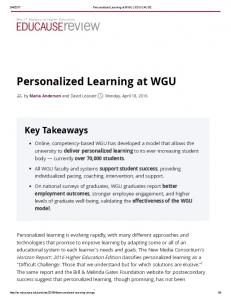 Personalized Learning at WGU