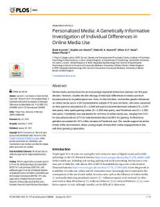 Personalized Media: A Genetically Informative Investigation of ... - PLOS