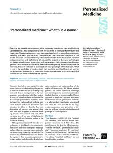 Personalized medicine - Future Medicine