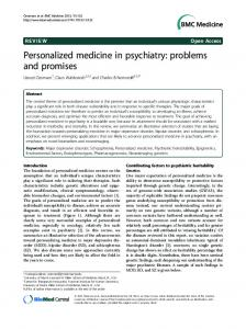 Personalized medicine in psychiatry - ScienceOpen