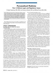 Personalized Medicine Part 2: Ethical, Legal, and Regulatory Issues