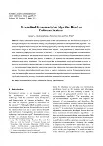 Personalized Recommendation Algorithm Based on ... - IEEE Xplore