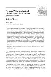 Persons With Intellectual Disabilities in the Criminal Justice System