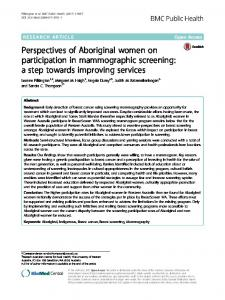 Perspectives of Aboriginal women on ... - BMC Public Health