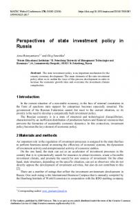 Perspectives of state investment policy in Russia - MATEC Web of ...
