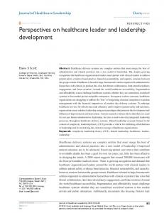Perspectives on healthcare leader and leadership ...