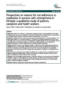 Perspectives on reasons for non-adherence to medication in persons