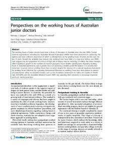 Perspectives on the working hours of Australian