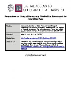 Perspectives on Unequal Democracy: The Political ...