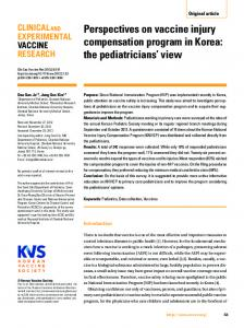 Perspectives on vaccine injury compensation ... - KoreaMed Synapse