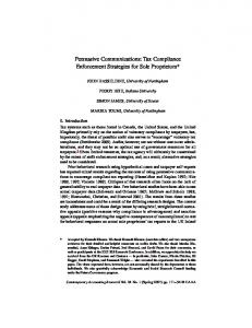Persuasive Communications: Tax Compliance ... - Wiley Online Library