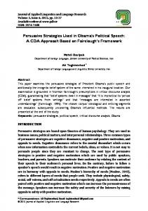 Persuasive Strategies Used in Obama's Political Speech - Journal of