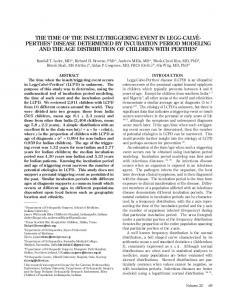 Perthes' DIseAse DeterMINeD bY INcUbAtION PerIOD MODeLINg ...