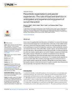 Pessimistic expectations and poorer experiences - PLOS