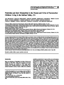 Pesticides and their Metabolites in the Homes and ... - Semantic Scholar