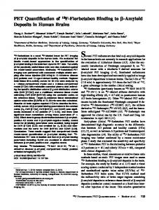 PET Quantification of 18F-Florbetaben Binding to b-Amyloid Deposits ...