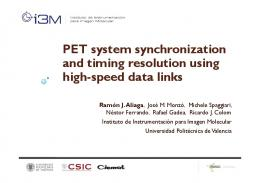 PET system synchronization and timing resolution ...