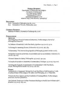 Peter Murphy, cv, Page 1 PETER MURPHY Department of ...
