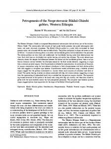 Petrogenesis of the Neoproterozoic Bikilal-Ghimbi gabbro ... - J-Stage